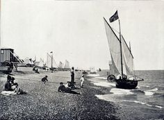 Aldeburgh The Beach modern print from a photo c 1890
