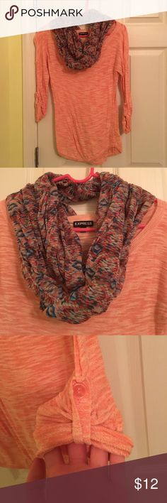 Express Infiniti Scarf AND Shirt Both from express. Only worn a couple of times. 3/4 sleeves with button to roll up. Aztec patterned Infiniti scarf. 2 for the price of 1! No signs of wear! Express Tops Tees - Long Sleeve