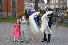 Crown Princess Mary and Crown Prince Frederik of Denmark arrive with Princess Isabella and Prince Christian at Holmens Kirke where her twins were christened Prince Vincent Frederik Minik Alexander and Princess Josephine Sophia Ivalo Mathilda.