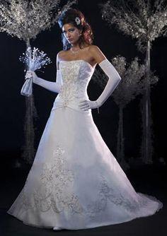 A-Line V-neck Chapel Train Satin Tulle Bridal Dresses,$196.49