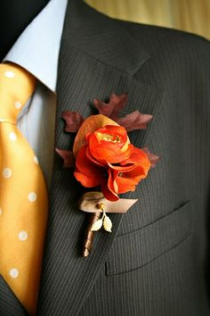leaf fall boutonniere by sweet b., via Flickr