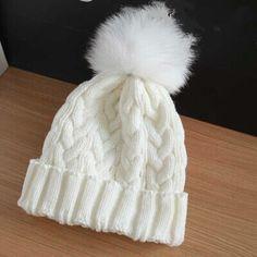 Nueva señora de moda skullies gorros de punto invierno del casquillo del sombrero mujeres con pieles de visón real pompón bolas envío gratis