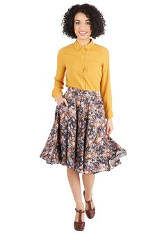 Fancy Freelance Skirt - Floral, Pockets, Work, 50s, High Waist, Full, Fall, Woven, Better, Black, Mid-length, Multi, Daytime Party, Vintage Inspired, Exclusives, Press Placement
