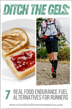 """Do traditional """"running fuel"""" sources, like gels, drinks, or chews, upset your stomach during training and racing? You aren't alone. Here are 7 """"real"""" food alternatives for runners and endurance athletes, so you can ditch the gels for good. Marathon Gear, Marathon Running, Nutrition For Runners, Nutrition Tips, Running Tips, Trail Running, Ultra Marathon Training, Real Food Recipes, Snack Recipes"""