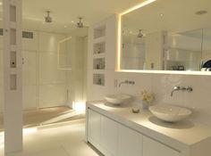 Lighting design by John Cullen Lighting White Bathroom Designs, Bathroom Lighting, Cool Lighting, Lighting Design, Bathroom Cupboards, Modern Bathroom, Bathroom, Chic Bedroom Decor, Bathroom Design