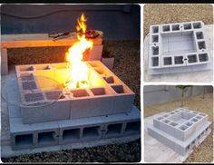 Cinder block fire pit. How to use my leftover cinder blocks.