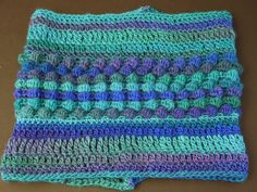 Unforgettable Cowl in Light Weight Yarn, Hand Knit Crochet, Purple Blue Green Multi-Color - pinned by pin4etsy.com