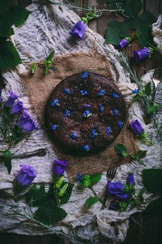 Salted Almond Chocolate Cake With Violets