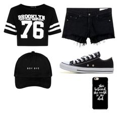 """""""Black"""" by elinaelina-1 ❤ liked on Polyvore featuring Boohoo, rag & bone/JEAN and Converse"""