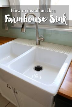 How to install an ikea farmhouse sink on an existing cabinet. DIY Kitchen renovation with the IKEA Domsjo apron front sink.