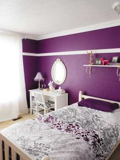 Love this Deep Purple bedroom uses the Anna Damask Stencil as an