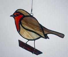 Robin Stained Glass Suncatcher Bird, European Robin by BerlinGlass on Etsy https://www.etsy.com/listing/210700827/robin-stained-glass-suncatcher-bird