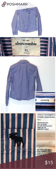 〰Sz XL ABERCROMBIE Striped Button Down Shirt 〰GIRLS ABERCROMBIE KIDS Size-XL-Hardly worn!  Blue, pink and white pin striped button down.  Good quality shirt!!🎀  🛍Happy Poshing  〰Thank you! Deb 〰 abercrombie kids Shirts & Tops Button Down Shirts