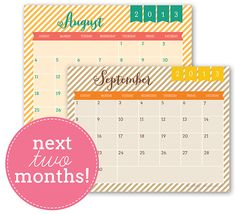Printable August Calendar & Printable September Calendar- she releases new calendars each month and has lots of other super cute printables.