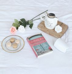 The Paris Key book, macarons, roses and tea make for a perfect afternoon