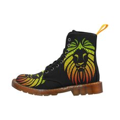 Rastafari Lion Dots green yellow red Martin Boots For Men Model 1203H