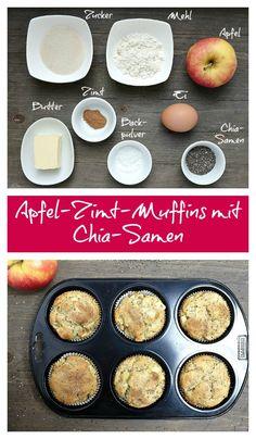 Diese Apfel-Zimt Muffins gelingen kinderleicht. Die Kombination von Apfel und Zimt verspricht einen leckeren Genuss und durch die Chia-Samen bekommen sie einen tollen Kunsper-Effekt.