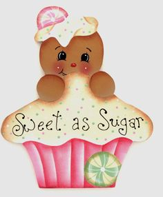 HP GINGERBREAD FRIDGE MAGNET pink cupcake Christmas Wood, Christmas Candy, Tole Painting, Fabric Painting, Decoupage, Arte Country, Art Drawings For Kids, Ginger Cookies, Pink Cupcakes