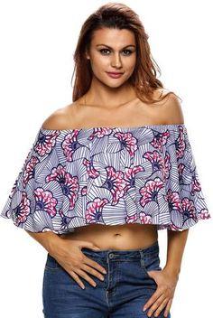 Hauts Courts Fleur Imprime Fanshaped Epaules Denudees Top. Oversized ShirtHalf  ... d5d1d79c13be