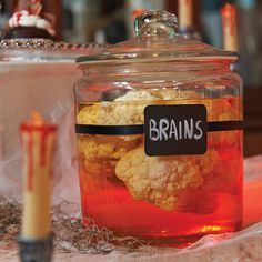 One Halloween decorating idea we love: use interesting containers to dress up contents. Apothecary jars and other pieces of interesting glassware can be used as [. Haunted House For Kids, Scary Haunted House, Haunted House Decorations, Easy Halloween Decorations, Halloween Haunted Houses, Halloween Party Decor, Diy Haunted House Props, Haunted Hayride, Haunted House Party