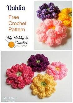 Crochet Flowers Pattern Dahlia flower free crochet pattern by My Hobby is Crochet; - Dahlia flower free crochet pattern by My Hobby is Crochet; Crochet Puff Flower, Crochet Flower Tutorial, Knitted Flowers, Crochet Flower Patterns, Love Crochet, Crochet Gifts, Crochet Motif, Beautiful Crochet, Diy Crochet
