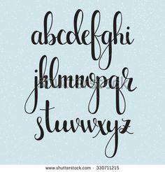 Handwritten brush style modern calligraphy cursive font. Calligraphy alphabet. Cute calligraphy letters. Isolated letters. For postcard or poster decorative graphic design. - stock vector