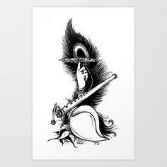 Krishna Symbol_t Size Art Print by Vimalarts - X-Small Doodle Art Drawing, Dark Art Drawings, Art Drawings Sketches Simple, Mandala Drawing, Krishna Drawing, Krishna Painting, Krishna Art, Krishna Tattoo, Krishna Flute