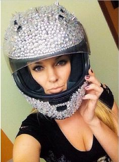 Crystal helmet designs can range from very simple patterns to complex mixed use of all types of stones, crystals, and big spikes. Let your imagination...