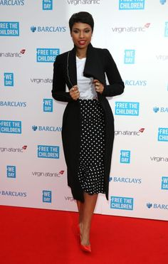 Splurge: Jennifer Hudson's We Day UK Dolce & Gabbana Polka Dot Silk Trumpet Skirt - The Fashion Bomb Blog : Celebrity Fashion, Fashion News,...