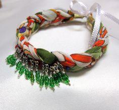 beaded bracelet, cotton bracelet, colourful bracelet, cotton fabric bracelet, fashion jewellery, frienship bracelet, unique bracelet , gift by INDAJEWELLERY on Etsy