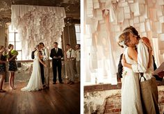 incredible backdrop of paper till reciepts for your wedding ceremony