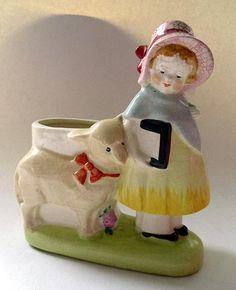 Vintage ceramic planter;  Mary had a little lamb...