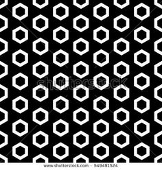 Vector monochrome seamless pattern, white outline hexagons on black background. Simple geometric texture for tileable print, stamping, decoration, digital, web, wallpaper, cover, textile, identity
