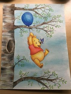 Winnie the pooh watercolor painting print baby painting, cartoon painting, drawing cartoon characters, Disney Character Drawings, Disney Drawings Sketches, Cool Art Drawings, Drawing Sketches, Drawings Of Cartoon Characters, Disney Cartoon Drawings, Cute Disney Characters, Drawing Disney, Drawing Drawing