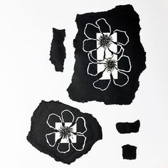 Planted some more flowers in my art garden. Still playing around with positive and negative. Black watercolor & white ink on torn paper. Flower art, floral art, mixed media