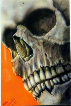 Friggin awesome work, and its all airbrush Monster Pictures, Badass Skulls, Totenkopf Tattoos, Skull Pictures, Skull Artwork, Desenho Tattoo, Air Brush Painting, Skull Fashion, Skulls And Roses
