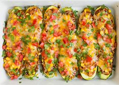 Enchilada Zucchini Boats   Cooking Classy; Make these a vegetarian treat by subbing chicken for seasoned black beans and/or sauteed seasoned tofu. Delicious!