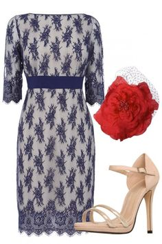 WEDDING GUEST OUTFITS  This blue lace shift screams wedding glamour. Keep the look classic and accessorise with nude strappy heels and a pillar box red corsage for a pop of colour.