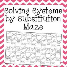 Solving Systems of Equations by Substitution maze. My algebra students will love this worksheet alternative. Math Teacher, Math Classroom, Teaching Math, Math Math, Maths, Common Core Algebra, Algebra 1, Algebra Activities, Math Resources