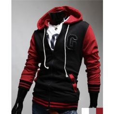 $ 26.30+ free shipping! Stylish Contact Color Hooded Hoodie Hoodies Coat Jacket Top Sport Wear For Men Boys