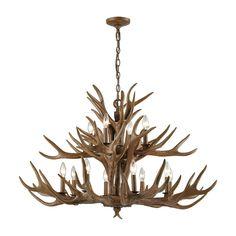 Elk Elk 12 Light Chandelier In Wood Brown 16317/8 4