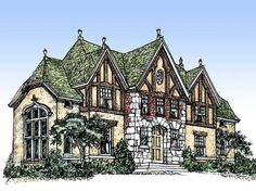 Grand Tudor house plan -This Tudor plan has been a long-time favourite of mine. Having become more eco-friendly in recent years, I could never build a house like this guilt-free. Unless maybe it was a straw bale house. Can you build straw bale houses so large? I mean, they have built schools and churches and such….. An eco-friendly girl can still dream.