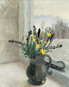 """art-pickings: """" Winifred Nicholson – English) Still Life with Flowers oil on canvas, 20 x 16 inches, x cm """" Winifred Nicholson, William Nicholson, Matisse, Still Life Flowers, Chestnut Horse, English Artists, Painting Still Life, Naive Art, Daffodils"""