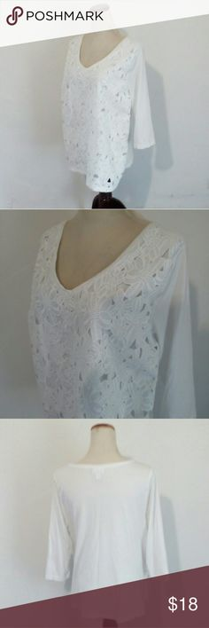 "J. Jill white embellished white tee Soft, cotton/modal, solid white 3/4 sleeve tee with floral lace front overlay. In beautiful condition! Armpit to armpit is 22"". J. Jill Tops Tees - Long Sleeve"