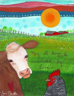Farm Sanctuary « Lori Portka Painting made for Gene Baur, founder of the Farm Sanctuary. Hundred Thank Yous Gratitude Project. Zen Doodle, Whimsical Art, Love Book, Cute Wallpapers, Art Quotes, Inspirational Quotes, Peace And Love, Original Artwork, Moose Art