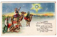Vintage Religious Christmas Postcard Three Wise Men Artist Signed Dulk Star of Bethlehem