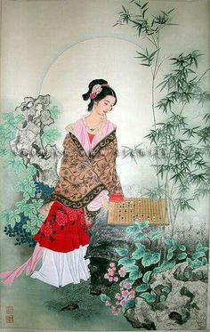 Woman playing go Future Games, Wood Games, Go Game, Play N Go, Ancient China, Chinese Art, Beautiful, Collection, Warriors