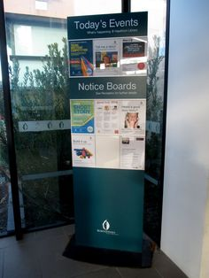 Noticeboard at entrance to Boroondara library Hawthorn much neater than standard pinup board.