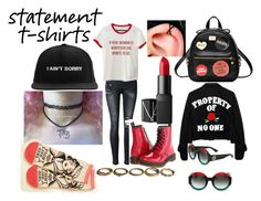 """""""feminist statement shirt outfit"""" by foohead ❤ liked on Polyvore featuring Dr. Martens, NARS Cosmetics, Kate Rowland, Urbiana and Gucci"""