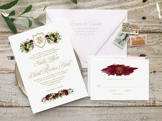 """This bohemian wedding invitation suite is one of our most popular wedding invitations. Created in Marsala with a floral design, it is the perfect wedding invite for a Spring or Summer wedding.  Your Invitation Suite is fully customizable to help celebrate your special day.  Here are all the details to help you choose what is best for your wedding:  ::: TO ORDER A SAMPLE ::: – Samples are Non-Custom. – Select """"Sample"""" from the dropdown menu under """"Printing Options""""  ::: TO ORDER PRINTS…"""